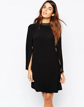 photo Embellished Cape Sleeve Dress by Warehouse Premium, color Black - Image 1