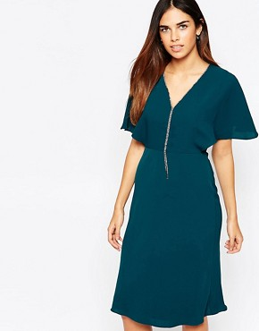 photo Diamonte V Front Mini Dress by Warehouse, color Green - Image 1