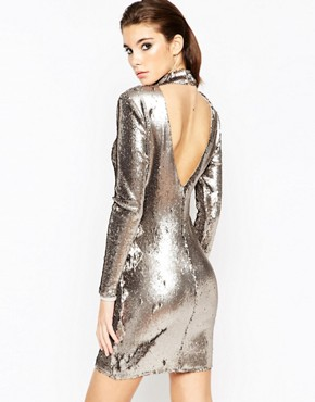 photo Embellished Polo Sequin Mini Dress by ASOS NIGHT, color Gun Metal - Image 2