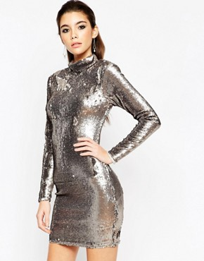 photo Embellished Polo Sequin Mini Dress by ASOS NIGHT, color Gun Metal - Image 1