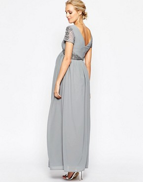 photo Maxi Dress with Embellished Waist by Maya Maternity, color Grey - Image 2