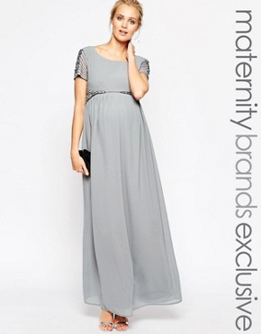 photo Maxi Dress with Embellished Waist by Maya Maternity, color Grey - Image 1