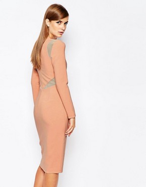 photo Mesh Insert Bodycon Dress by The 8th Sign, color Nude - Image 2