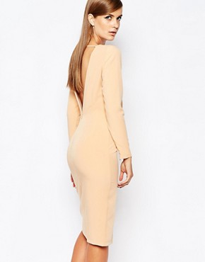 photo Lace Up Front Longsleeve Bodycon Dress by The 8th Sign, color Nude - Image 2