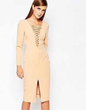 photo Lace Up Front Longsleeve Bodycon Dress by The 8th Sign, color Nude - Image 1
