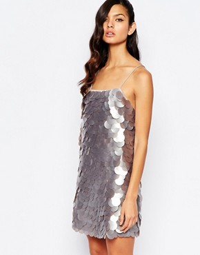 photo All Over Large Sequin Minimum Dress by The 8th Sign, color Silver - Image 1