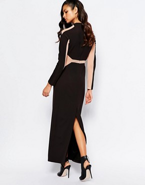 photo Panelled Maxi Dress with Mesh Inserts by The 8th Sign, color Allover Black - Image 2