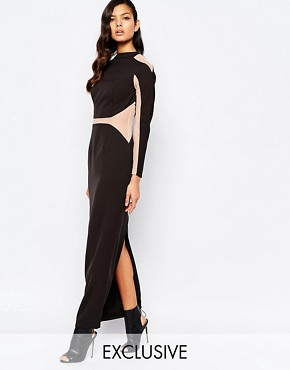 photo Panelled Maxi Dress with Mesh Inserts by The 8th Sign, color Allover Black - Image 1
