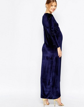 photo Velvet Wrap Dress by Club L Maternity, color Midnight Navy - Image 2