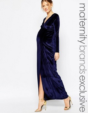 photo Velvet Wrap Dress by Club L Maternity, color Midnight Navy - Image 1
