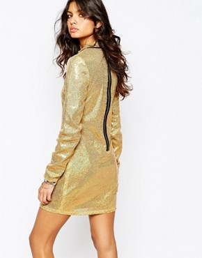photo Sequin Mini Dress with High Neck & Long Sleeves by Jaded London, color Gold - Image 2