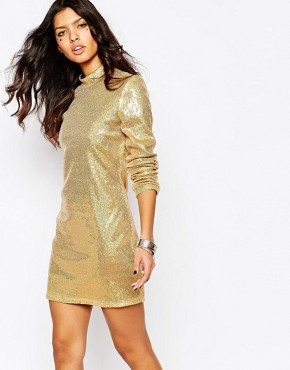 photo Sequin Mini Dress with High Neck & Long Sleeves by Jaded London, color Gold - Image 1