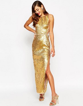 photo Gold Shell Lace Up Side Maxi Dress by ASOS RED CARPET, color Gold - Image 1