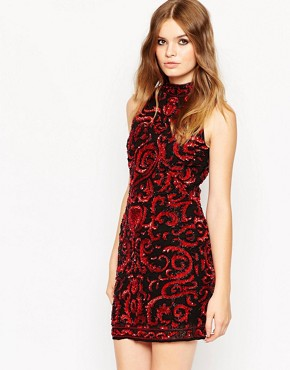 photo Embellished High Neck Mini Tank Dress by ASOS PREMIUM, color Red - Image 1