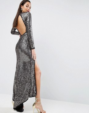 photo Embellished Sequin Maxi Dress with High Low Hem by ASOS RED CARPET, color Black - Image 2