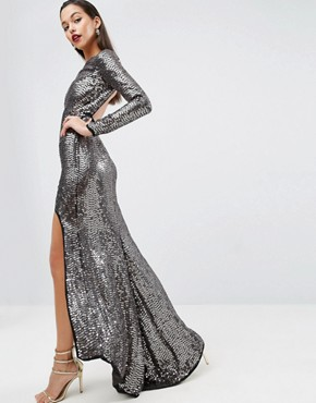 photo Embellished Sequin Maxi Dress with High Low Hem by ASOS RED CARPET, color Black - Image 1