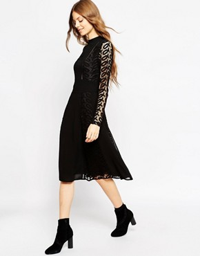 photo Lace and Ladder Detail Midi Dress by ASOS PREMIUM, color Black - Image 1