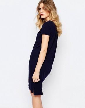 photo Organic Fairtrade Cotton Light Weight Knitted T-Shirt Dress with Pockets by People Tree, color Navy - Image 2