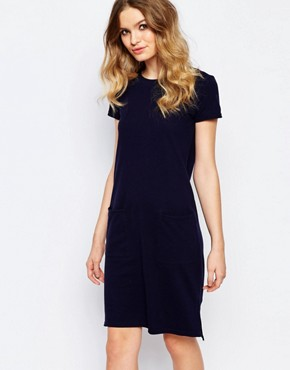 photo Organic Fairtrade Cotton Light Weight Knitted T-Shirt Dress with Pockets by People Tree, color Navy - Image 1