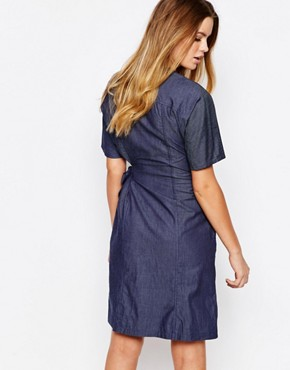 photo Organic Fairtrade Cotton Wrap Front Dress in Chambray Denim Look by People Tree, color Blue - Image 2
