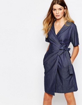 photo Organic Fairtrade Cotton Wrap Front Dress in Chambray Denim Look by People Tree, color Blue - Image 1