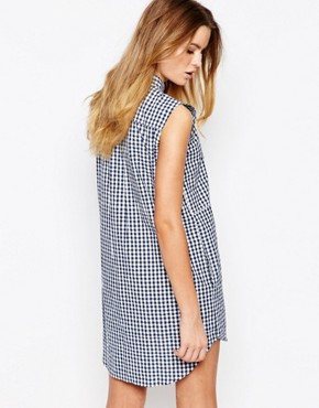 photo Organic Fairtrade Cotton Shirt Dress in Check by People Tree, color Multi - Image 2