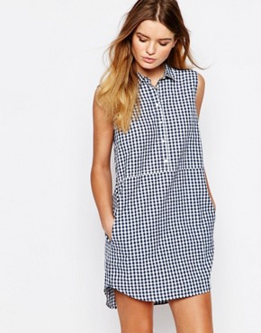photo Organic Fairtrade Cotton Shirt Dress in Check by People Tree, color Multi - Image 1