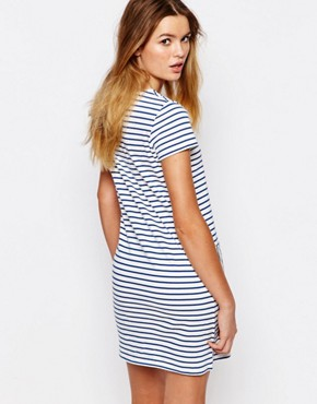 photo Fairtrade Cotton Bretton Stripe T-Shirt Dress with Pockets by People Tree, color Multi - Image 2