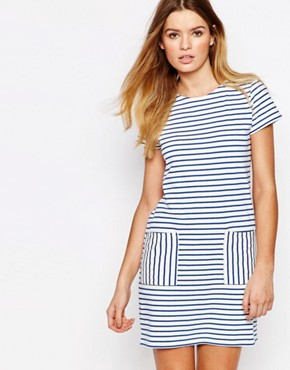photo Fairtrade Cotton Bretton Stripe T-Shirt Dress with Pockets by People Tree, color Multi - Image 1