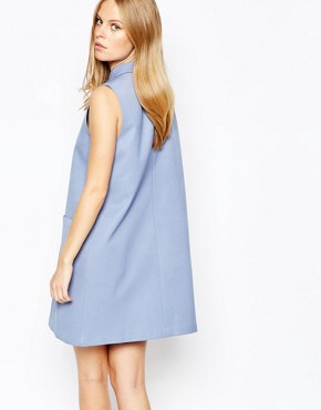 photo Pleat Aline Dress with Collar by Lost Ink, color Light Blue - Image 2