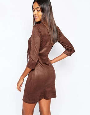 photo Faux Suede Dress with Fringing in Brown by Sisley, color Brown - Image 2