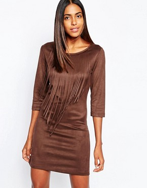 photo Faux Suede Dress with Fringing in Brown by Sisley, color Brown - Image 1