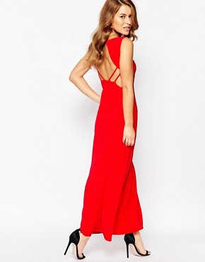 photo Maxi Dress with Cut Out Sides and Waistband by Lipstick Boutique Petite, color Red - Image 2