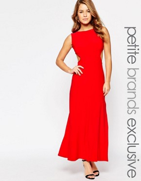 photo Maxi Dress with Cut Out Sides and Waistband by Lipstick Boutique Petite, color Red - Image 1