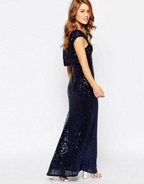 photo Sequin Cowl Back Maxi Dress by Lipstick Boutique Petite, color Navy - Image 2
