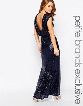 photo Sequin Cowl Back Maxi Dress by Lipstick Boutique Petite, color Navy - Image 1