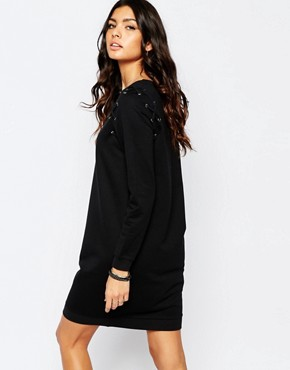 photo Lace Up Sweat Dress by Noisy May Tall, color Black - Image 2