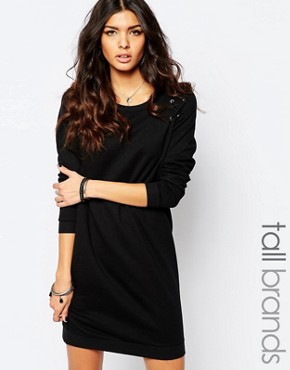 photo Lace Up Sweat Dress by Noisy May Tall, color Black - Image 1