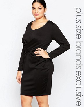 photo Long Sleeve Bodycon Dress with Knot Front Detail by Carmakoma, color Black - Image 1