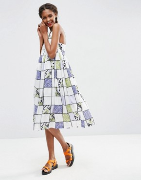 photo Extreme Swing Midi Dress in Grid Print by ASOS AFRICA x Chichia, color Multi - Image 1