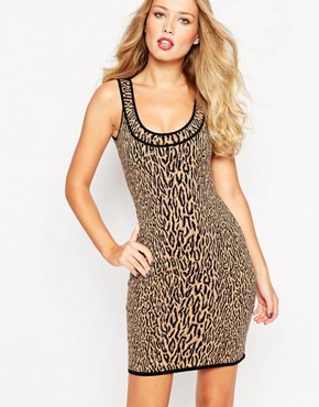 photo Fitted Leopard Print Dress by BCBG Max Azria, color Light Nude - Image 1