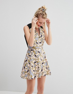 photo Mini Skater Dress in Geo Floral Print by ASOS AFRICA x Chichia, color Multi - Image 1