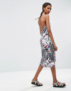 photo Halter Shift Dress in Animal Face Print by ASOS AFRICA x Chichia, color Multi - Image 2