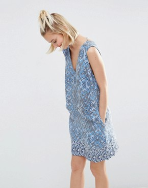 photo Sleeveless Shift Dress in Fan Print by ASOS AFRICA x Chichia, color Multi - Image 1