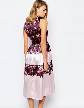 photo Full Prom Midi Dress in Sateen with Cut Out by True Violet, color Lilac Floral - Image 2