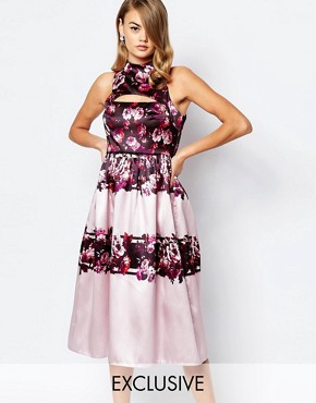 photo Full Prom Midi Dress in Sateen with Cut Out by True Violet, color Lilac Floral - Image 1