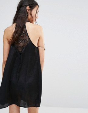 photo High Neck Satin Shift Dress with Lace Insert by Band of Gypsies, color Black - Image 2