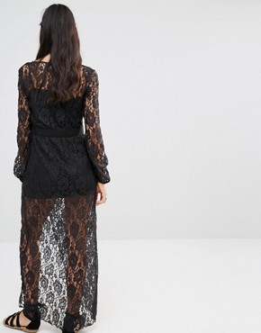 photo Lace Wrap Maxi Dress by Band of Gypsies, color Black - Image 2