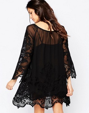 photo Crochet Mini Swing Dress with Lace Inserts by White Sand, color Black - Image 2