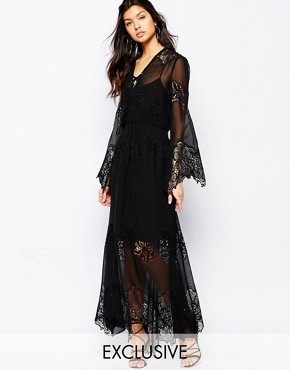photo Excalibur All Over Chiffon and Lace Maxi Dress with Tie Front by White Sand, color Black - Image 1